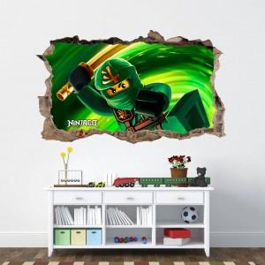 Krásna detská nálepka na stenu bojovník ninja go
