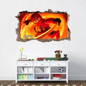 Akčná nálepka na stenu červený ninja go