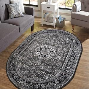 Exkluzívny oválny koberec v nadčasovej šedej farbe