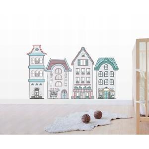 Krásna nálepka do detskej izby posedenie pri domčekoch