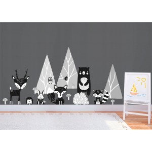 Krásna bielo čierna nálepka na stenu zvieratká v lese
