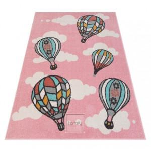 Detský koberec s balónmi v pastelovej ružovej farbe