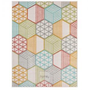 Pestrofarebný koberec s geometrickými vzormi