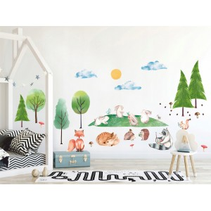 Roztomilá detská nálepka na stenu so zvieratkami v prírode XXL