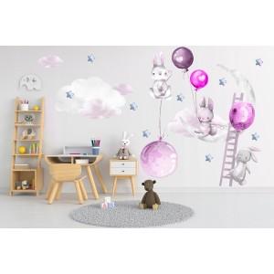 Nádherná nálepka na stenu veselé zajačiky s balónmi 120 x 240 cm