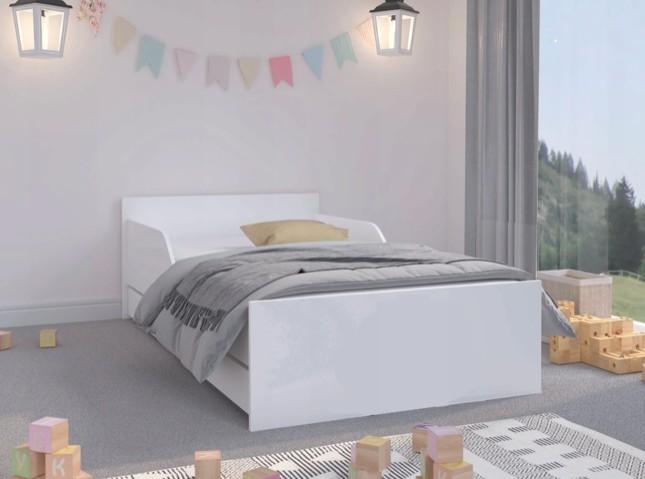 Jednoduchá a univerzálna detská posteľ bielej farby 160 x 80 cm Biela