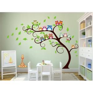 Krásna nálepka na stenu do detskej izby sovičky na strome