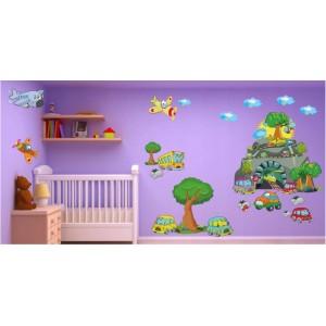 Veselá nálepka na stenu pre chlapčeka do detskej izby autá a lietadlá 60 x 120 cm