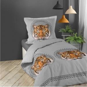 Bavlnené obliečky na posteľ sivej farby s tigrom JACANA 140 x 200 cm SKLADOM