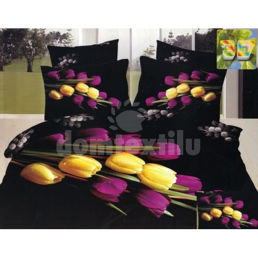 Obliečky čiernej farby so žltými a fialovými tulipánmi