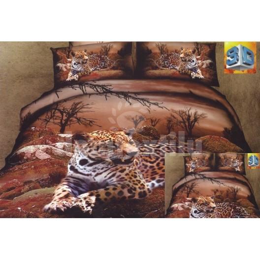 Obliečky hnedej farby s odpočivajúcim leopardom