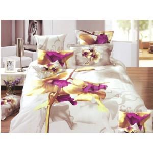 Biela súprava obliečok s fialovým kvetom
