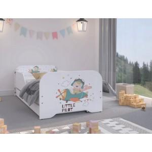 Detská posteľ v kavlitnom prevedení pre malých pilotov 160 x 80 cm