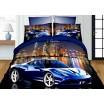 Tmavo modré posteľné obliečky pre deti s nočným mestom a autom