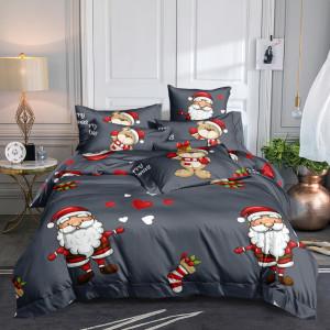 Vianočné sivé posteľné obliečky s motívom Santa Clausa
