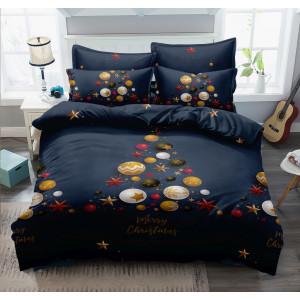 Fantastické tmavo modré posteľné obliečky s krásnym vianočným motívom