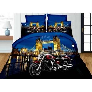 Modré posteľné obliečky pre deti s motívom Tower Bridge a motorkou