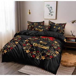 Sviatočné vianočné čierne posteľné obliečky s motívom adventného venca