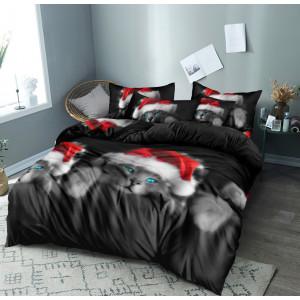 Úžasne čierne vianočné posteľné obliečky s motívom mačky s mikulášskou čiapkou