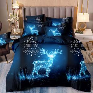 Geniálne tmavo modré vianočné posteľné obliečky s motívom čarovného soba