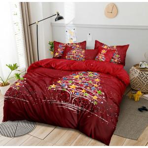 Vianočné červené posteľné obliečky s krásnym motívom vianočného stromčeka