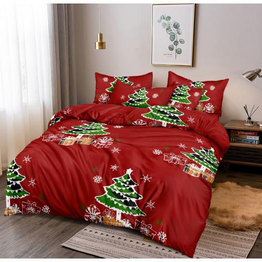 Sviatočné červené vianočné posteľné obliečky s vianočným stromčekom