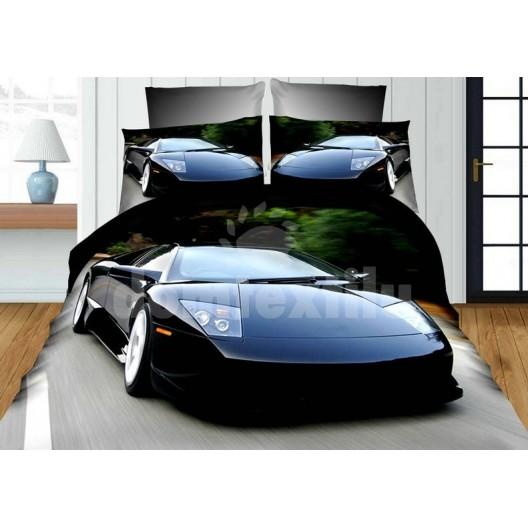 Sivo čierne obliečky pre deti s motívom luxusného auta Ferrari
