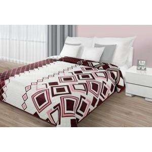 Obojstranné prehozy cez posteľ v krémovej farbe s bordovým vzorom