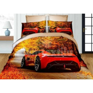 Detské posteľné obliečky žlto červenej farby s motívom auta Ferrari