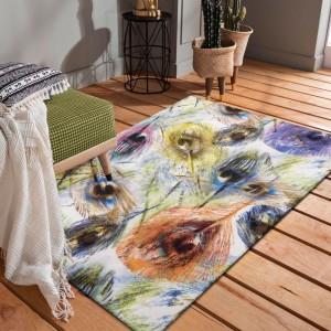 Fenomenálny farebný koberec s motívom pávích pierok 80x150 cm SKLADOM