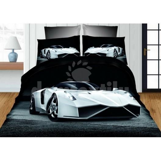 Čierno sivé obliečky pre deti s bielym autom