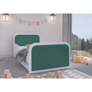 Kvalitne spracovaná detská posteľ 180 x 90 cm so zeleným čalúnením z eko kože