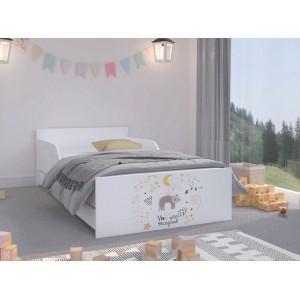 Kvalitná detská posteľ s mačičkou a hviezdami 180 x 90 cm