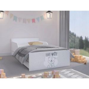 Roztomilá detská posteľ  180 x 90 cm so sivým čelom a macíkom