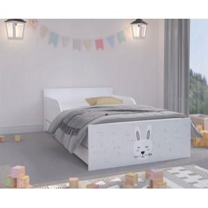 Nádherná detská posteľ s fúzatým zajačikom 180 x 90 cm