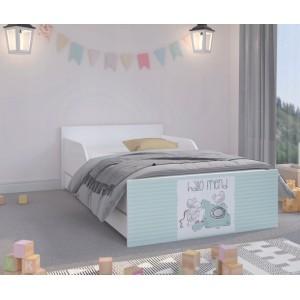 Vkusná detská posteľ s mentolovým čelom 180 x 90 cm s myšičkami