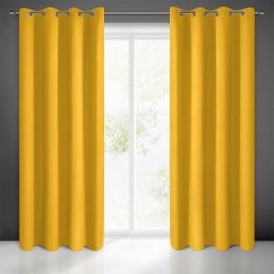 Krásny žltý zatemňujúci záves na kruhy 140 x 270 cm
