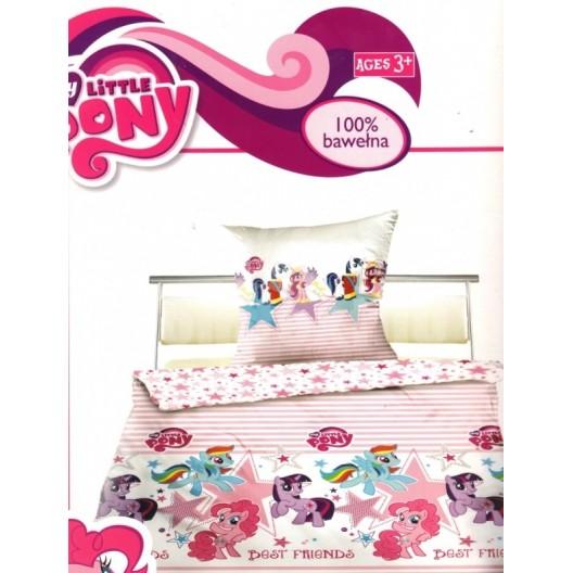 Bielo ružové detské obliečky s motívom poníkov