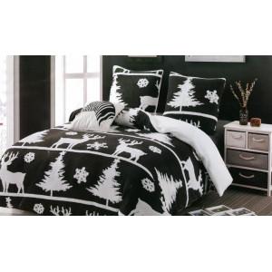Krásne bielo čierne vianočné posteľné obliečky z hrejivého mikrovlákna