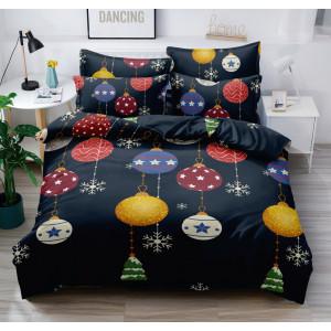 Kvalitné tmavo modré vianočné posteľné obliečky s farebnými ozdobami