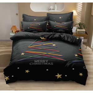 Luxusné čierne posteľné obliečky s motívom vianočného stromčeka