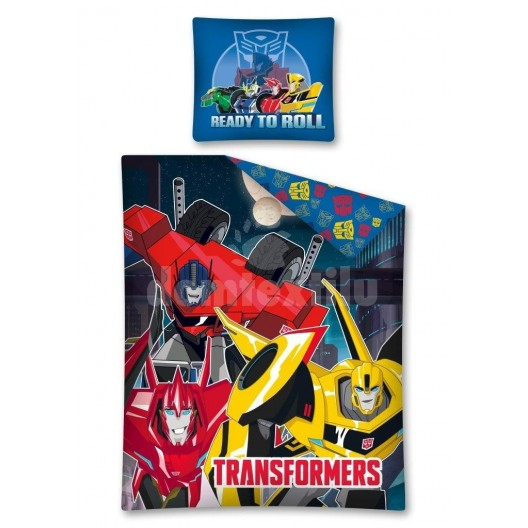 Žlto červené obliečky pre chlapcov s postavičkami Transformers